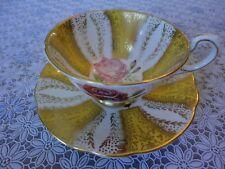 Paragon Fine Bone China Teacup and Saucer Gold Yellow Cabage Rose, No Tax