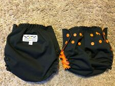 LOT of 2 APPLE CHEEKS size 2  Black CLOTH DIAPER COVER Reusable Adjustable G20