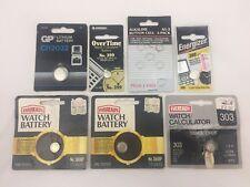 LOT OF 7 ASSORTED WATCH/ CALCULATOR BATTERIES-CR2032, 399, 386BP, 303, 395, A-G3