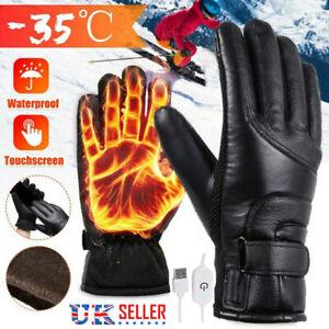 Winter Motorcycle Motorbike Heated Glove Warm USB Electric Waterproof Gloves UK