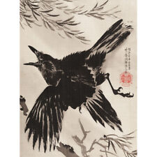 Kyosai Crow Willow Tree Japanese Painting Canvas Wall Art Print Poster