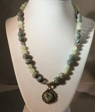 """18"""" Handmade Seraphanite & Green Agate Necklace Sterling Silver Matching Pendant"""