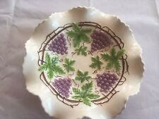 Glazed 60's 70's serving bowl wavy ruffled fluted rim raised grapes with leaves