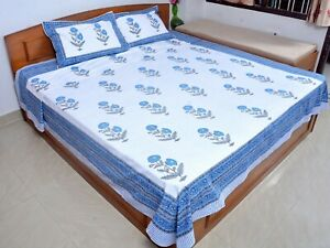 Printed Bed Sheet Cotton Bed Coverlet Indian Bedspread Throw With Pillowcases