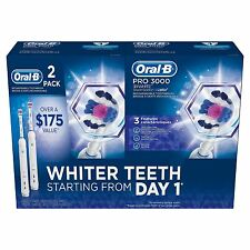 New ! 2PK  Oral-B PRO 3000 Rechargeable Toothbrush 3 Mode Toothbrush Handle