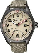 Citizen Aw5005-12x Eco-drive Mens Solar Watch Beige Wr100m