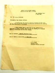 WWII Office of The Flight Surgeon 2535th AAF unit Certification for Pilot