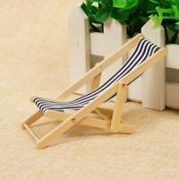 Miniatur Liegestuhl Gartenstuhl Dekor 1:12 Mini Striped Holz-Puppenhaus High qua
