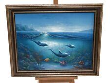 Original Pintura al óleo sobre lienzo impresionante submarino Mar Delfines Peces Natación