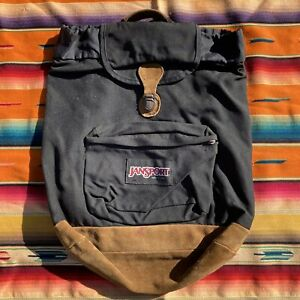 Vintage 90s Jansport Backpack Rucksack Leather Bottom Made In USA