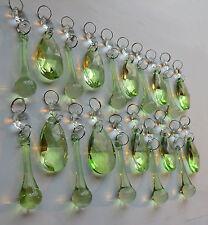 20 Chandelier Antique Sage Green Light Crystals Glass Prism Drops Droplets Beads