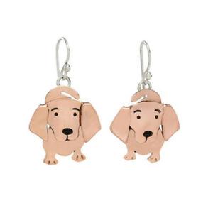 Far Fetched SWEET DACHSHUND DOG Earrings EW-439 Copper & Sterling Silver