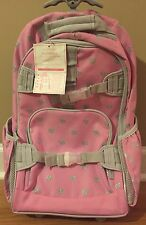 NEW Pottery Barn Kids Rolling Backpack Book Bag PINK GRAY GLITTER HEART