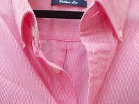 Mens MAINE Pink Pinstripe Long Sleeve Shirt Size XL Logos Pocket 46 Inch Chest