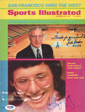 Billy Jean King & John Wooden Autographed Signed Sports Illustrated PSA S43887