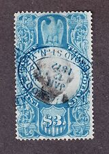 US R125 $3 2nd Issue Used w/ Blue Handstamp Cancels