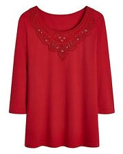 Anthology plus size 24 Cotton Rich Red Jersey Top Crochet Lace Trim Marisota New
