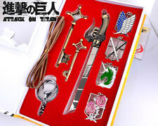 Hot Anime Attack on Titan 4 Badges & 1 Mini Sword & 2 Keys Pendant Keychain Toy
