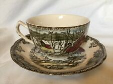 Johnson Brothers FRIENDLY VILLAGE Cups & Saucers THE ICE HOUSE Set of 6