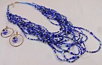 "24"" Cobalt Blue Multi-Strand Beaded Necklace & .925 Silver Blue Bead Earring Set"