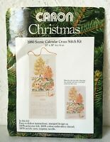 "Vintage Caron Christmas 1980 Scenic Calendar Stamped Cross Stitch Kit 13"" x 30"""