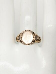 Antique Victorian 1880s 14k Yellow Gold ART NOUVEAU Mens INITIAL Band Ring