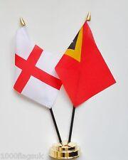 England & Timor-Leste (East Timor) Double Friendship Table Flag Set