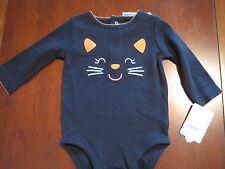 NEW NWT Carters Girl Halloween Kitty Cat Cotton Long Sleeve Bodysuit 6 months