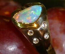 Opal  18k yellow gold  opal ring crystal opal Green Yellow Gem stone, hand Made
