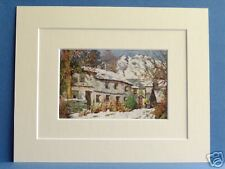 CONISTON CUMBRIA WINTER SUNSHINE VINTAGE DOUBLE MOUNTED PRINT 1908 HEATON COOPER