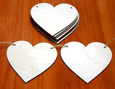 10 Stk Holzherzen mit 2 Löchern 9cm Herzhänger Holzhänger Herz aus Holz!!