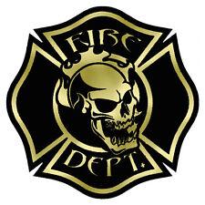 "Firefighter Decals,Gold Reflective 4"", Skull, Fire Department, Black  #FD56"