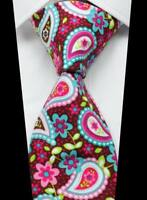 New Classic Paisley Red Blue Pink 100% Cotton Men's Necktie Neck Tie 3.15''(8CM)