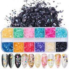 Mixte 12 Couleurs Seashell Paillettes Irrégulières Glitter Poudre DIY Manucure