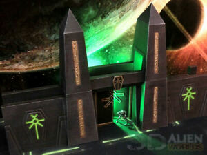 CC3D - Runic/ Necron Tomb City Wall - Wargames Miniatures Scenery 40k 28mm 15mm