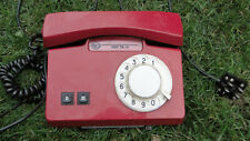 VINTAGE SOVIET ROTARY DIAL PHONE RED MADE IN USSR ABOUT 1982