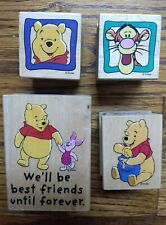 Set of 4 Disney Rubber Stamps  Winnie the Pooh with Piglet,  Tigger