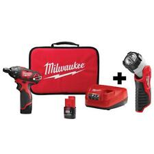 Milwaukee Screwdriver Kit LED Light 1/4 in. Hex Battery Charger Bag Cordless