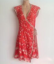 NEW LOOK Pink Floral Wrap around Summer Dress beach cover up Size 8