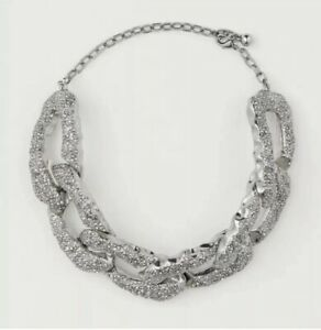 H&M HM CONSCIOUS EXCLUSIVE COLLECTION AW2020 SILVER RHINESTONE DETAIL NECKLACE