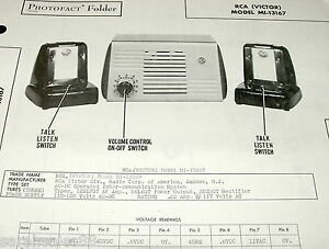 Service Manual Photofact RCA VICTOR MI-13167 INTER COMMUNICATION Sys w-Schematic