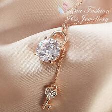 18K Rose Gold Plated Simulated Diamond 4.0 Carat Round Cut Lock & Key Necklace