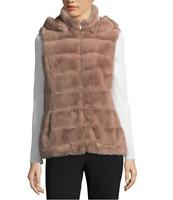 Women's Liz Claiborne Hooded Quilted Faux Fur Vest MSRP $120