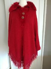 Red Wool Cape Poncho By Dabulong One Size