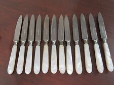 """REIN NICKEL SEAFOOD BUTTER MOTHER OF PEARL STAINLESS STEEL 7"""" KNIVES SET OF 12"""
