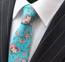 Corbata de lazo Entallada Azul con calidad floral rosa de algodón T649