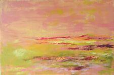 """TABLEAU ABSTRAIT PAYSAGE Peinture sur toile signée HZEN """"Courir la plaine"""" 41x27"""