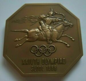 Orig.commemorative medal  Olympic Games SEOUL 1988 - 6,5 x 6,5 cm  !!  RARITY