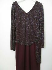 CHADWISK'S DARK BROWN SEQUIN EMBELLISHED LONG SLEEVE COCKTAIL DRESS SIZE 10P
