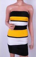 SASSY NEW AX PARIS BLACK & YELLOW BANDEAU STRAPLESS BODYCON DRESS  ~Size 12 (B)